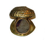 Antique brass clam shell picture frame