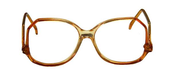 Translucent orange 1980s eyeglass frames