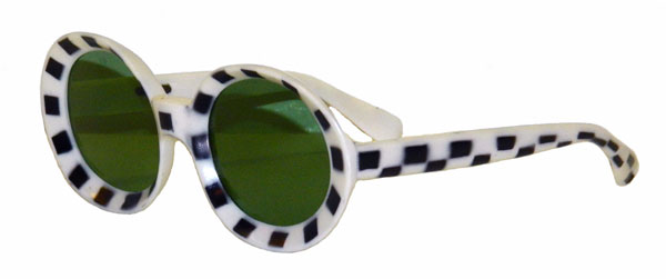 vintage 1960's black and white checkered mod sunglasses