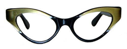 Vintage black and green cat eye eyeglass frames