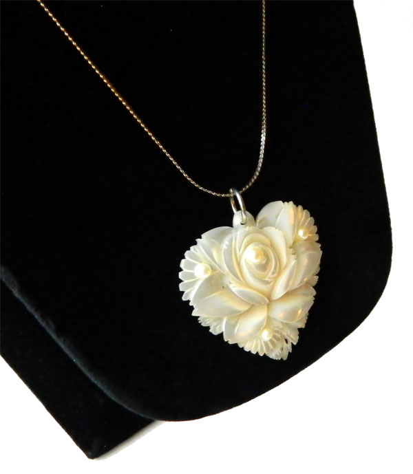 Carved Mother Of Pearl Rose Pendant Necklace