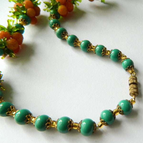 Venetian glass beaded fruit necklace