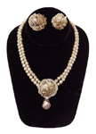 Vintage 1950's faux pearl necklace and earring set