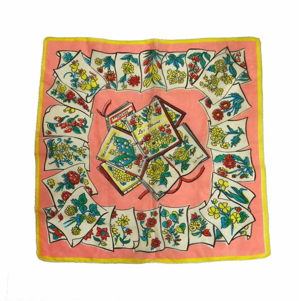 Vintage flower varieties silk scarf