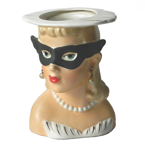 1950's Mardi Gras mask lady head vase